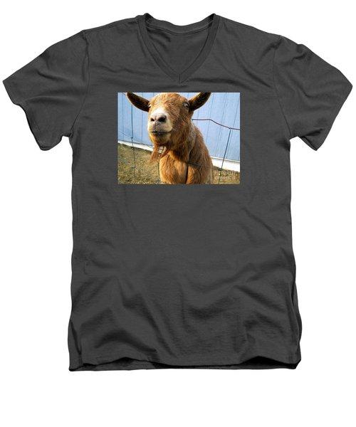 The Friendly Goat  Men's V-Neck T-Shirt by Sandra Church