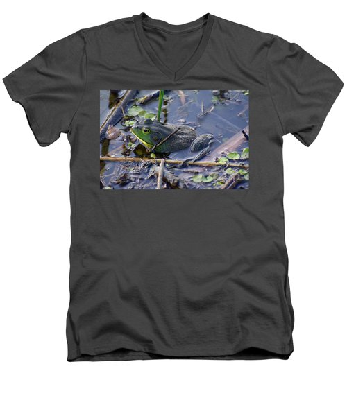 The Frog Remains Men's V-Neck T-Shirt