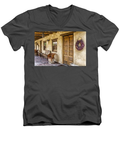 Men's V-Neck T-Shirt featuring the tapestry - textile The Gage Hotel by Kathy Adams Clark