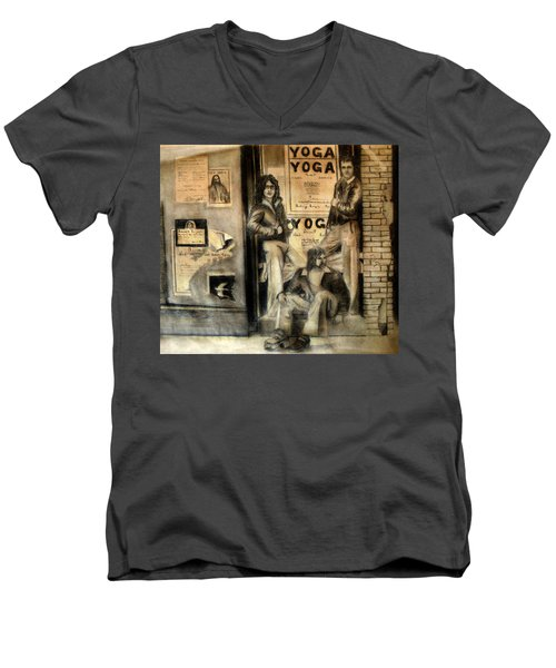 Men's V-Neck T-Shirt featuring the drawing The Gang by Albert Puskaric