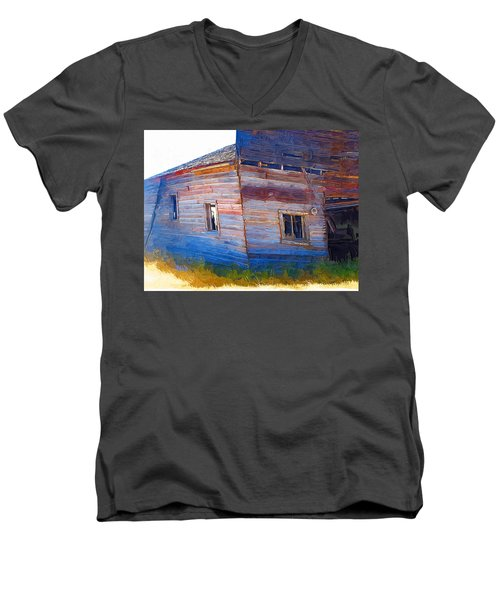 Men's V-Neck T-Shirt featuring the photograph The Garage by Susan Kinney