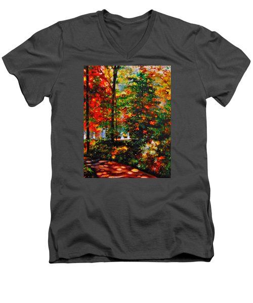 Men's V-Neck T-Shirt featuring the painting The Garden by Emery Franklin