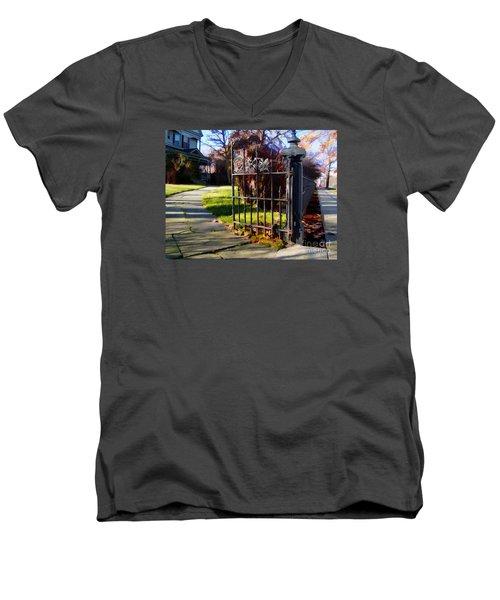 The Gate Men's V-Neck T-Shirt by Betsy Zimmerli