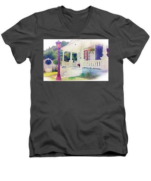 The Gate Porch And The Lamp Post Men's V-Neck T-Shirt by Becky Lupe