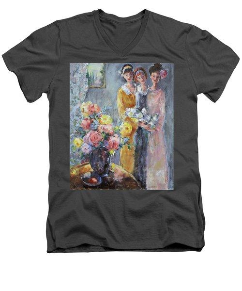 The Gathering Men's V-Neck T-Shirt by Sharon Furner