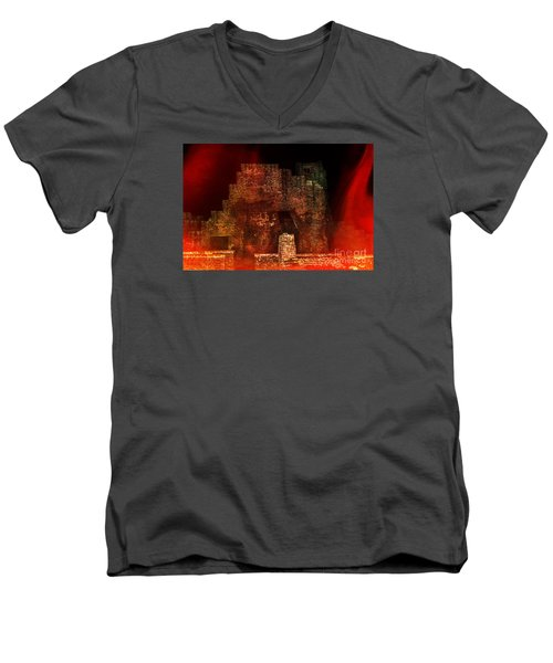 The Ghostly Ruins Of An Elizabethan Fireplace Men's V-Neck T-Shirt by Linsey Williams