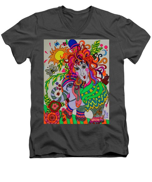 The Girl And The Elephant Men's V-Neck T-Shirt