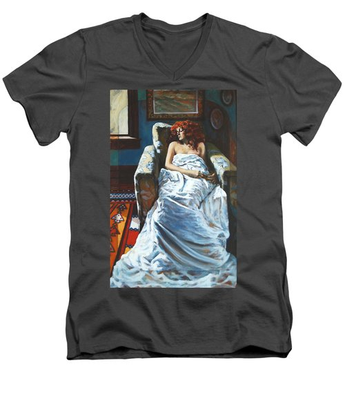 The Girl In The Chair Men's V-Neck T-Shirt by Rick Nederlof