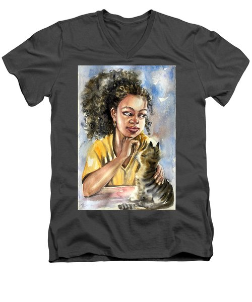 The Girl With A Cat Men's V-Neck T-Shirt