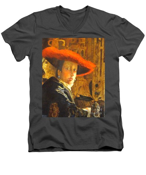 The Girl With The Red Hat After Jan Vermeer Men's V-Neck T-Shirt