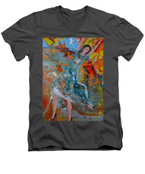 Men's V-Neck T-Shirt featuring the painting The Glory Of The Lord by Deborah Nell