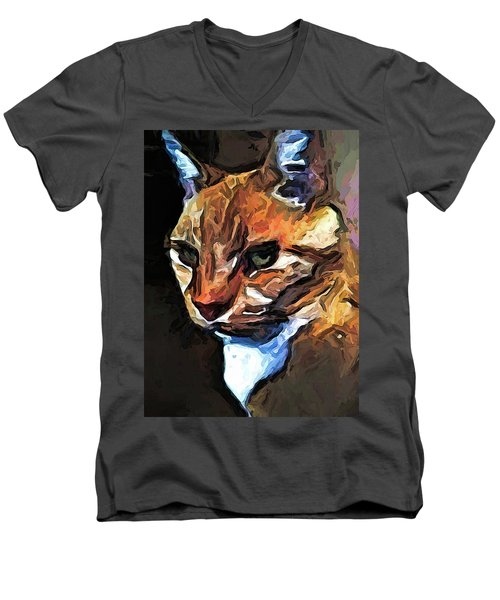 The Gold Cat With The Stage Presence Men's V-Neck T-Shirt