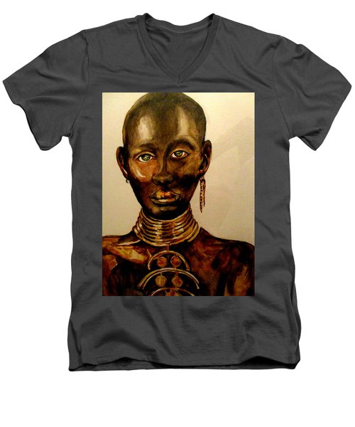 The Golden Black Men's V-Neck T-Shirt by Yolanda Rodriguez