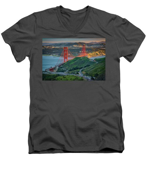 The Golden Gate At Sunset Men's V-Neck T-Shirt