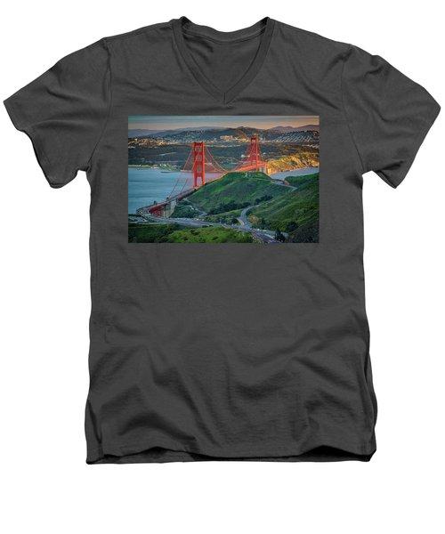 The Golden Gate At Sunset Men's V-Neck T-Shirt