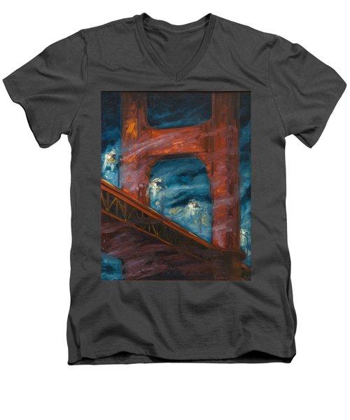 The Golden Gate Men's V-Neck T-Shirt by Rick Nederlof