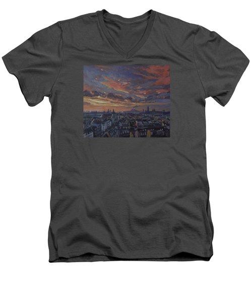 The Golden Hour Maastricht Men's V-Neck T-Shirt by Nop Briex