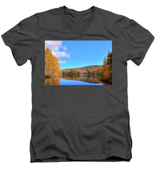 Men's V-Neck T-Shirt featuring the photograph The Golden Tamaracks Of Woodcraft Camp by David Patterson