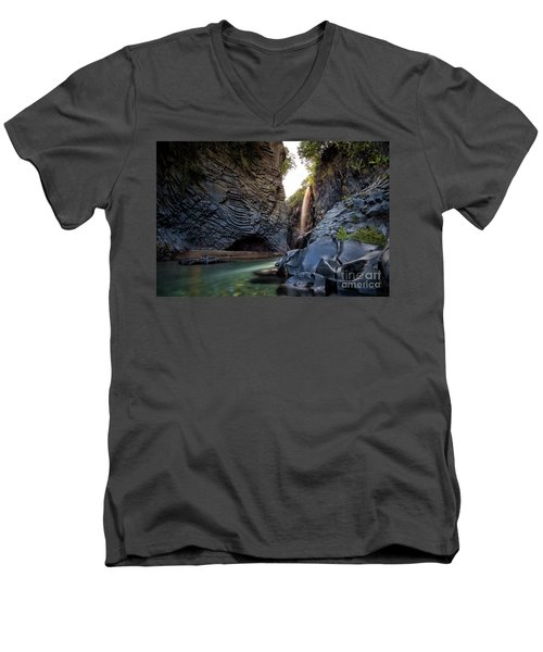 The Golden Waterfall Men's V-Neck T-Shirt
