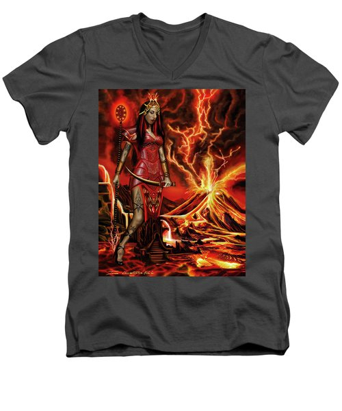 Men's V-Neck T-Shirt featuring the painting The Goodess Pele Of Hawaii by James Christopher Hill