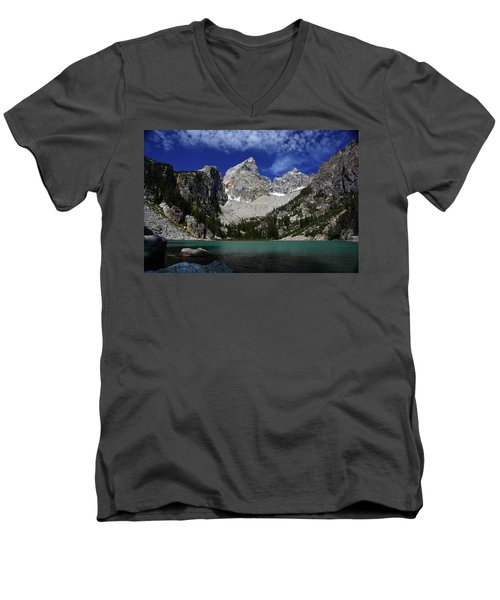 The Grand And Mount Owen From Delta Lake Men's V-Neck T-Shirt by Raymond Salani III