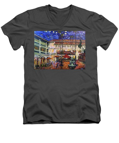 Men's V-Neck T-Shirt featuring the photograph The Grand Dame's Courtyard Cafe  by Belinda Low