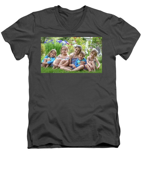 The Grand Kids In The Garden Men's V-Neck T-Shirt