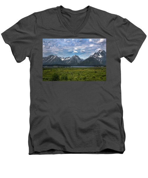 Men's V-Neck T-Shirt featuring the photograph The Grand Tetons by Shane Bechler