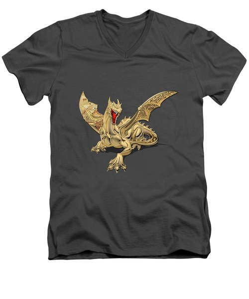 The Great Dragon Spirits - Golden Guardian Dragon On Red And Black Canvas Men's V-Neck T-Shirt by Serge Averbukh