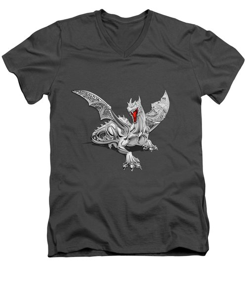The Great Dragon Spirits - Silver Guardian Dragon On Black And Red Canvas Men's V-Neck T-Shirt
