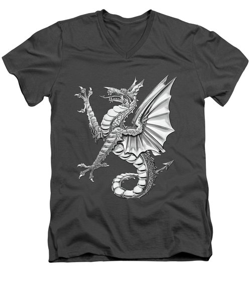 The Great Dragon Spirits - Silver Sea Dragon Over Red Canvas Men's V-Neck T-Shirt