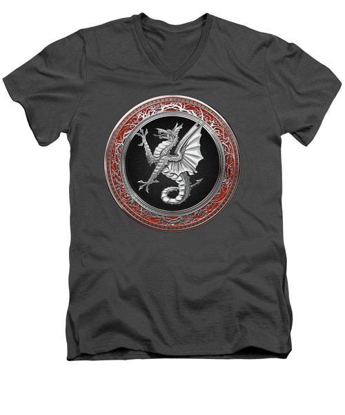 The Great Dragon Spirits - Silver Sea Dragon Over Red Velvet Men's V-Neck T-Shirt