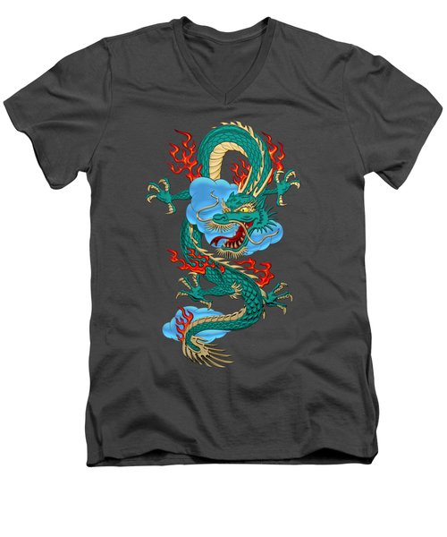 The Great Dragon Spirits - Turquoise Dragon On Red Silk Men's V-Neck T-Shirt