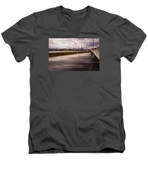 Men's V-Neck T-Shirt featuring the photograph The Great Stone Dam Lawrence, Massachusetts by Betty Denise