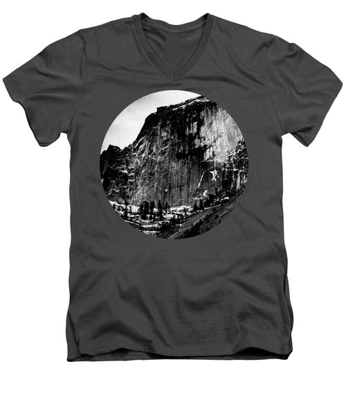 The Great Wall, Black And White Men's V-Neck T-Shirt by Adam Morsa