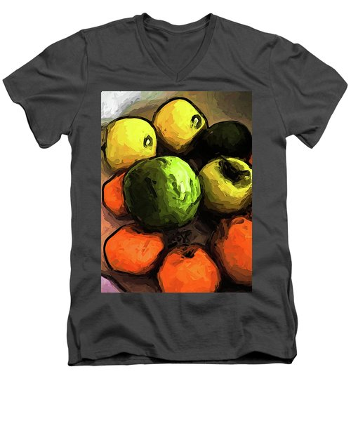The Green And Gold Apples With The Orange Mandarins Men's V-Neck T-Shirt
