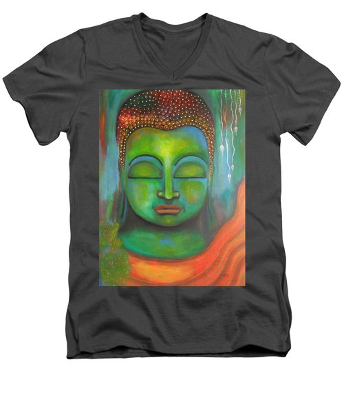 Men's V-Neck T-Shirt featuring the painting The Green Buddha by Prerna Poojara
