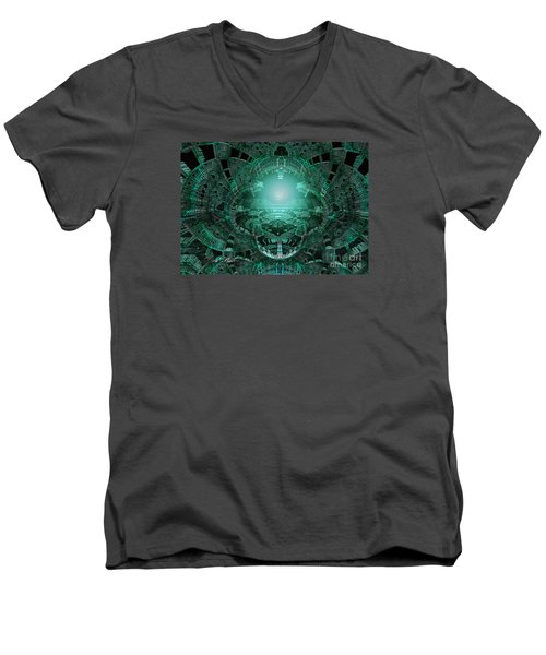 Men's V-Neck T-Shirt featuring the digital art The Green Glow by Melissa Messick