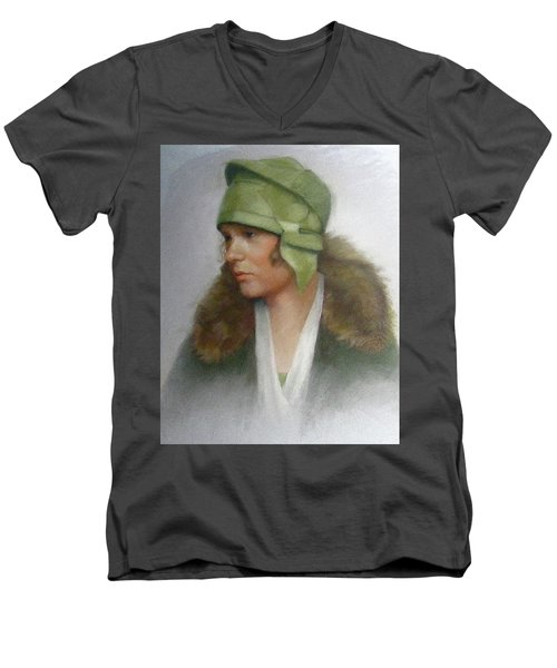 The Green Hat Men's V-Neck T-Shirt by Janet McGrath