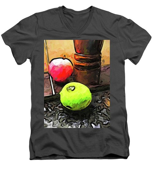 The Green Lime And The Apple With The Pepper Mill Men's V-Neck T-Shirt