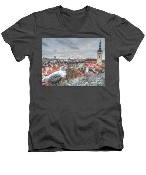 The Guard Of Tallinn Men's V-Neck T-Shirt by Yury Bashkin