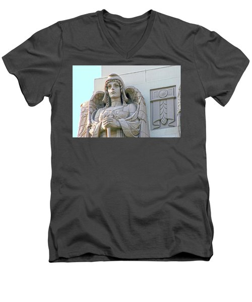 The Guardian Angel On Watch Men's V-Neck T-Shirt