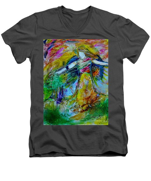Men's V-Neck T-Shirt featuring the painting The Guardian by Deborah Nell