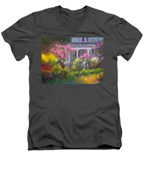 The Guardian - Plein Air Lilac Garden Men's V-Neck T-Shirt