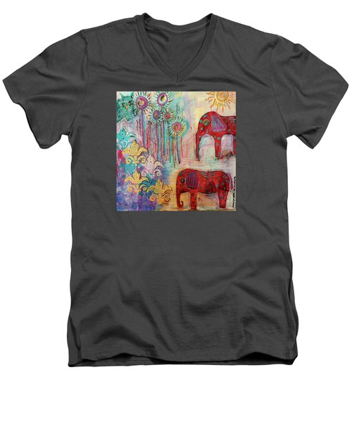 Men's V-Neck T-Shirt featuring the mixed media The Guardians Of Night And Day by Mimulux patricia no No