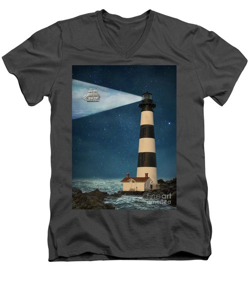 Men's V-Neck T-Shirt featuring the photograph The Guiding Light by Juli Scalzi