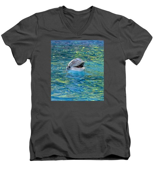 The Happy Dolphin Men's V-Neck T-Shirt by Nikki McInnes