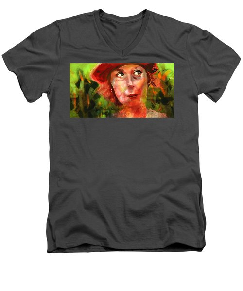 Men's V-Neck T-Shirt featuring the painting The Happy Gardener by Jim Vance