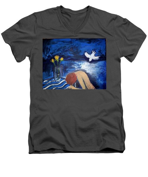 Men's V-Neck T-Shirt featuring the painting The Healing by Winsome Gunning