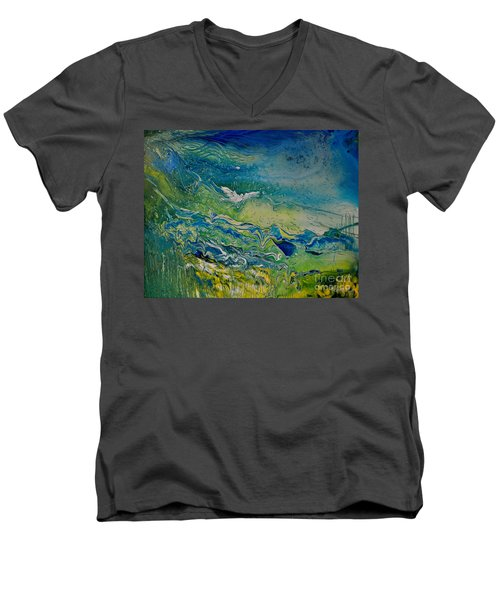 Men's V-Neck T-Shirt featuring the painting The Heavens And The Eart by Deborah Nell